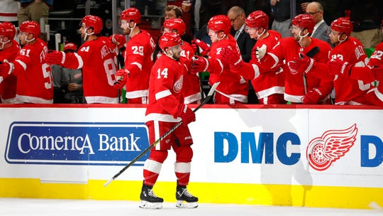 Detroit Red Wings center Robby Fabbri celebrates his goal against the Winnipeg Jets in the first period Thursday, Dec. 12, 2019, in Detroit.