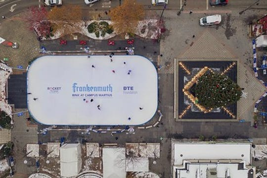 The ice rink at Campus Martius has been named the Frankemuth rink at Campus Martius.