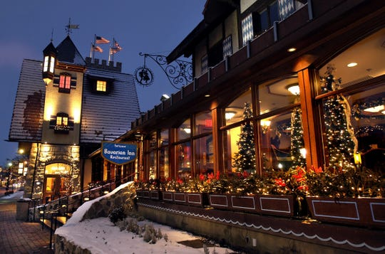 Bavarian Inn Restaurant along Main Street in Frankenmuth is decked out for the holidays.