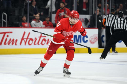 Detroit Red Wings right wing Filip Zadina celebrates his goal during the second period against the Winnipeg Jets at Little Caesars Arena, Dec. 12, 2019.