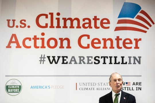 Democratic presidential contender Michael Bloomberg gives a speech at the US Climate action center during the COP25 summit in Madrid, Tuesday, Dec. 10, 2019.