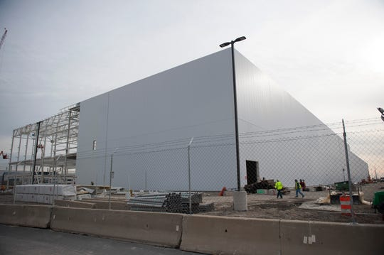 This is the partially completed new paint shop at Fiat Chrysler's Mack Engine plant.