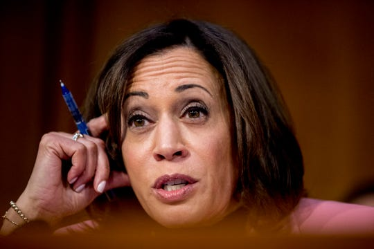 Sen. Kamala Harris, D-Calif. Questions Department of Justice Inspector General Michael Horowitz as he testifies at a Senate Judiciary Committee hearing on the Inspector General's report on alleged abuses of the Foreign Intelligence Surveillance Act, Wednesday, Dec. 11, 2019, on Capitol Hill in Washington.
