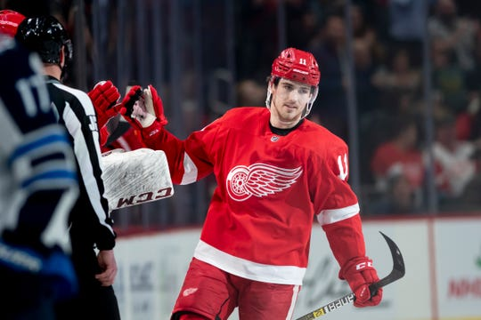 Right wing Filip Zadina had a goal and two assists in Detroit's 5-2 win over Winnipeg Thursday, which ended a 12-game losing streak.