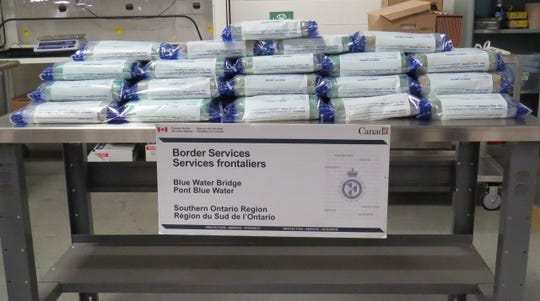 Fifty packages of suspected cocaine were seized by Canadian authorities Dec. 2 at the Blue Water Bridge in Point Edward, Ontario.