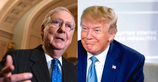 Senate Majority Leader Mitch McConnell, R-Ky., left, and President Donald J. Trump.