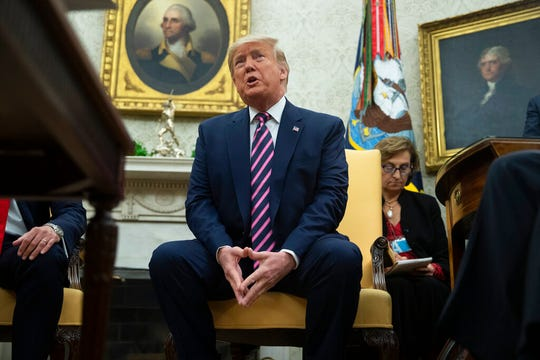 President Donald Trump speaks during a meeting with Paraguay's President Mario Abdo Benitez in the Oval Office of the White House, Friday, Dec. 13, 2019, in Washington.