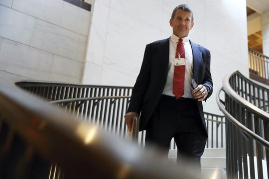 In this Nov. 30, 2017 file photo, Blackwater founder Erik Prince arrives for a closed meeting with members of the House Intelligence Committee on Capitol Hill in Washington.