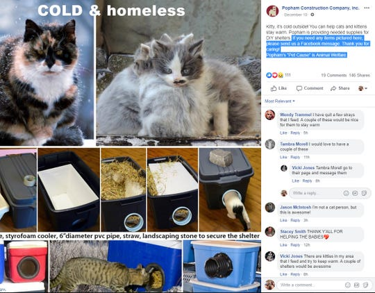 A Facebook post by Popham Construction of Evansville shows you how to build a small cat shelter for winter.