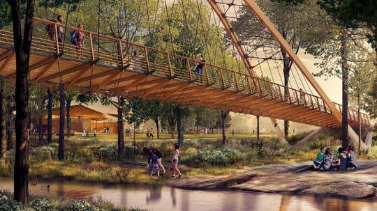 The planned Auro Bridge is to link the two sides of Unity Park split by the Reedy River. Auro Hotels gave $500,000 for the right to name the bridge.
