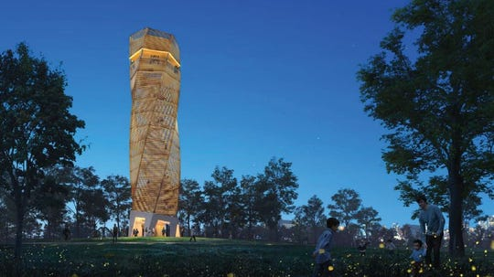 Unity Park's observation tower be partially transparent and offer a lantern-type glow at night.