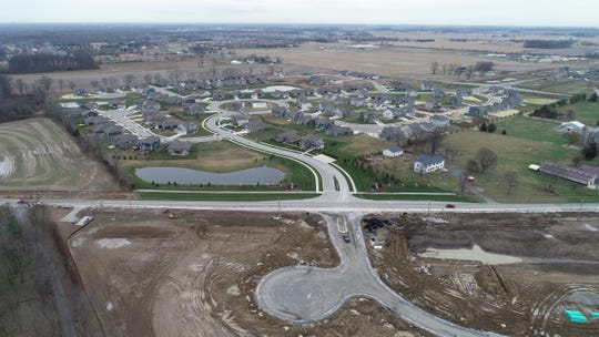 Drone footage shows Saddle Club subdivision, one of several new residential developments off County Road 144 in Bargersville.