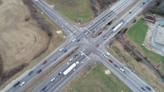Drone footage shows the future I-69 interchange ay State Road 37 and County Road 144 in Bargersville.