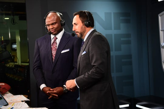 New Orleans, LA - September 9, 2019 - Mercedes-Benz Superdome: Booger McFarland and Joe Tessitore during a regular season Monday Night Football game.