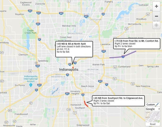 Lane restrictions on Marion County interstates from Dec. 13 to 16, 2019.