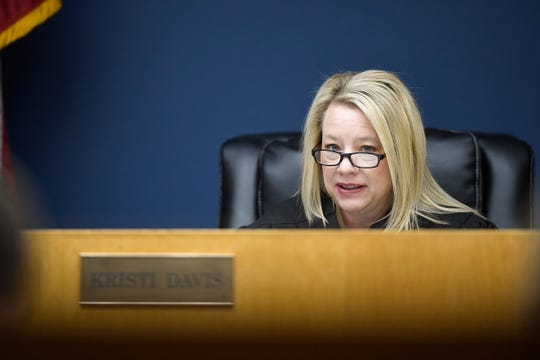 Judge Kristi Davis presides over a hearing over the News Sentinel's bid to unseal the Tennessee attorney general's lawsuit against opiate supplier AmerisourceBergen on Friday.