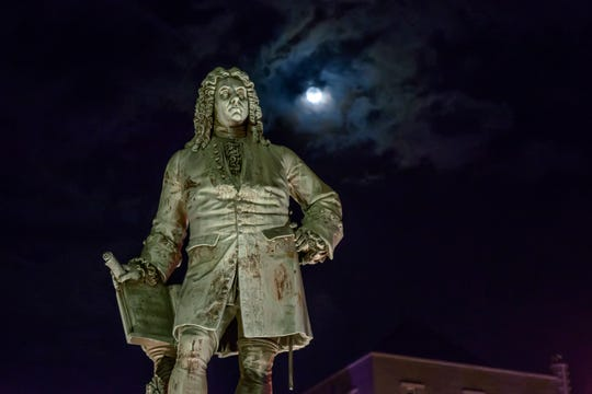 Monument to George Frideric Handel in Halle, Germany, at night