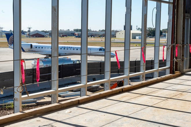 Construction work continues building the new terminal at the Lafayette Regional Airport. Thursday, Dec. 12, 2019.
