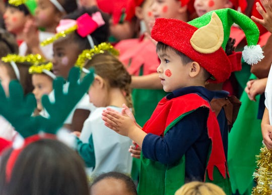 Pre-K students at Green T. Lindon Elementary in Youngsville sing Christmas carols Friday, Dec. 13, 2019.