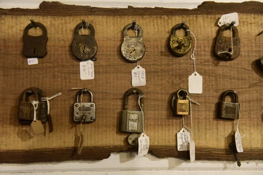 Dozens of old padlocks are for sale at Brick by the Crick in Lexington.