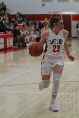 Shelby's Olivia Baker scored in double-figures in both Lady Whippet wins last week as they improved to 5-0.