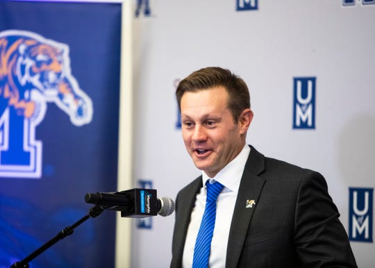 Memphis head football coach, Ryan Silverfield, speaks at a press conference at the Billy J. Murphy Football Complex on Friday, Dec. 13, 2019.