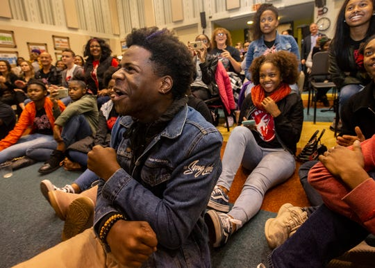 "Stax Music Academy student, Jaylon Toler, reacts to his school being gifted $250,000 from Ellen DeGeneres during the final night of a three-part holiday special ""Ellen's Greatest Night of Giveaways"" on Thursday, Dec. 12, 2019."