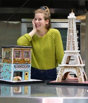 MK Drayna created this year's gingerbread display at North Shore Boulangerie. On the pastry team at Harbor House, she won the people's choice award in 2017 and 2018 in MATC's annual gingerbread house competition, while attending the college for her associate's degree in the baking and pastry artsprogram.
