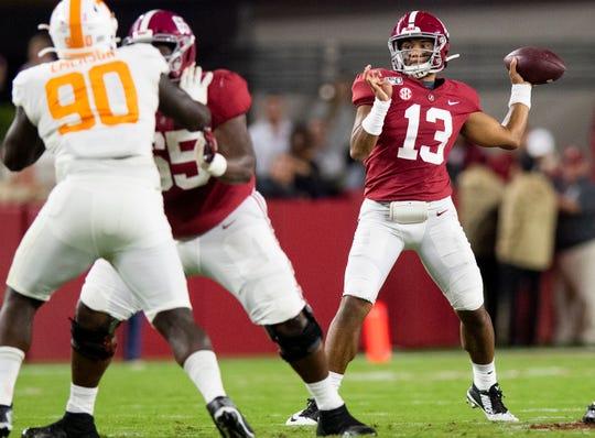 Alabama's Tua Tagovailoa passes against Tennessee at Bryant-Denny Stadium in Tuscaloosa, Ala. on Oct. 19, 2019.