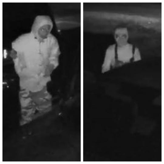 Images taken from home surveillance video shows the two suspects.