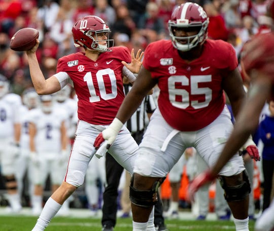 Alabama quarterback Mac Jones (10) passes against Western Carolina at Bryant-Denny Stadium in Tuscaloosa, Ala., on Saturday, November 23, 2019.