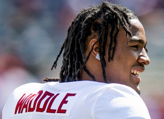 Alabama wide receiver Jaylen Waddle (17) before the Texas A&M game at Kyle Field in College Station, Texas on Saturday October 12, 2019.