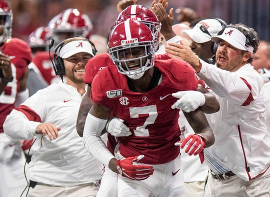 Alabama defensive back Trevon Diggs (7) celebrates a fumble recovery against Duke in the Chick-fil-A Kickoff Game at Mercedes Benz Stadium in Atlanta, Ga., on Saturday August 31, 2019.