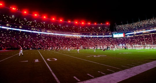 The new LED lights are debuted during the Tennessee game at Bryant-Denny Stadium in Tuscaloosa, Ala., on Saturday October 19, 2019.