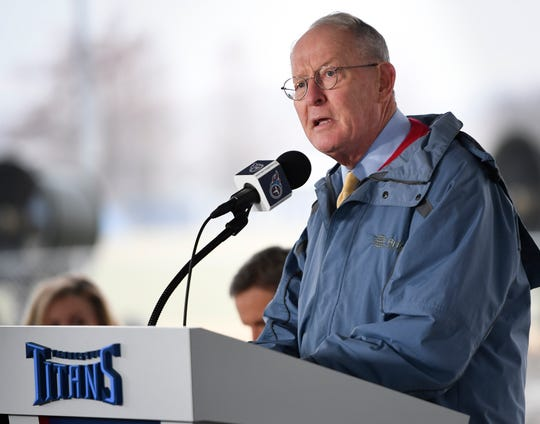 Sen. Lamar Alexander addresses attendees during a groundbreaking ceremony for the expansion of the Tennessee Titans' practice facility and corporate offices at Saint Thomas Sports Park Friday, Dec. 13, 2019 in Nashville, Tenn.