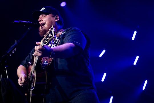 Luke Combs performs at Bridgestone Arena in Nashville, Tenn., Thursday, Dec. 12, 2019.