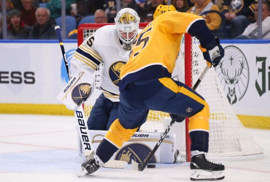 Buffalo Sabres goalie Linus Ullmark (35) stops Nashville Predators forward Matt Duchene (95) during the second period on Thursday in Buffalo.
