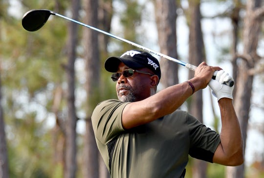Darius Rucker tees off on the 1st hole during the QBE Shootout Pro-Am in Naples at the Tiburón Golf Club, Thursday, Dec. 12, 2019.