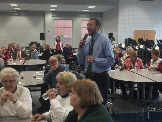 Principal Matt Durst welcomes area seniors and grandparents to Granville High School on Dec. 13.
