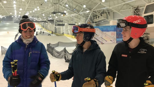 Three senior members of the Ridgewood High School ski team – (left to right) Jane McKinley, Cole Sherman, and Eddie O'Keefe – on Wed., Dec. 11, 2019, tested out Big Snow, the first-of-its-kind indoor ski and snowboard park at American Dream in East Rutherford.
