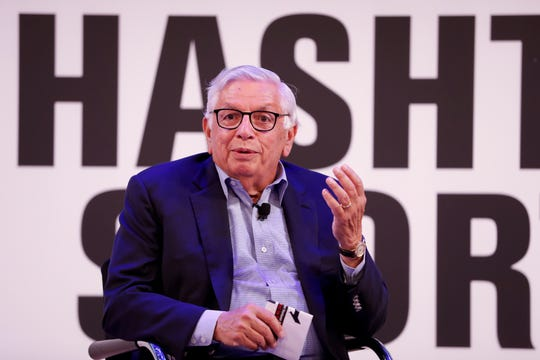 Former NBA commissioner David Stern is interviewed at the Hashtag Sports event at The Times Center on Wednesday, June 26, 2019 in New York.