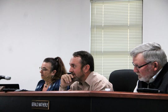 The Otero County Commission at their regular meeting Dec. 12. From left: Otero County Commissioner Lori Bies, Otero County Commission Chairman Couy Griffin and Otero County Commission Vice-Chairman Gerald Matherly