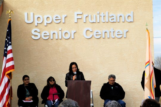 Reverend Cannon Cornelia Eaton of The Episcopal Church in Navajoland speaks at the opening of the Upper Fruitland Senior Center on Friday, Dec. 13, 2019.