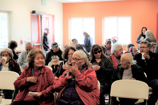 Community members enjoy the newly opened Upper Fruitland Senior Center on Friday, Dec. 13, 2019.