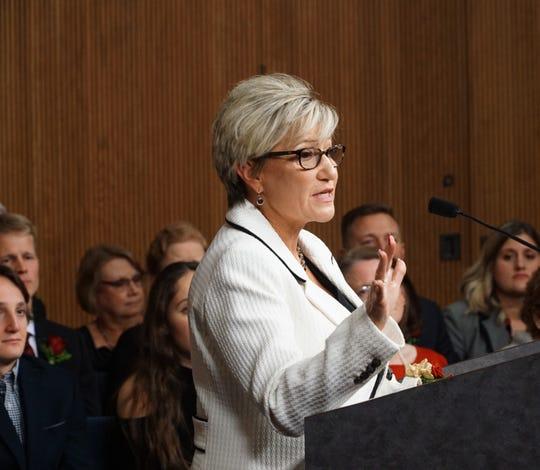 Livonia Mayor-elect Maureen Brosnan addresses the inaugural ceremony on Dec. 12, 2019.