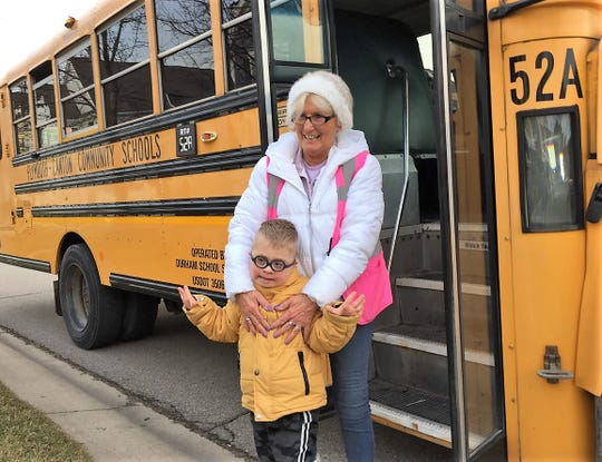 Oliver VanBelle, a student at Workman Elementary School in Canton, has a special connection with bus driver Bev Zack.