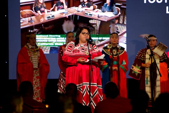 San Manuel Band of Mission Indians Chief Judge Claudette White speaks at a red ribbon dress exhibit held by the tribe on Oct. 9, 2019. The tribe's pow wow Dec. 13-15 will feature a red ribbon dress dance as a tribute to missing and murdered indigenous women.