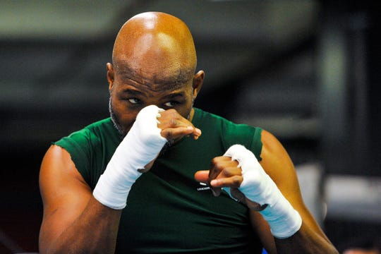 Bernard Hopkins looks on during a workout for a fight against Sergey Kovalev at Gleason's Gym on November 4, 2014 in the Brooklyn borough of New York City.