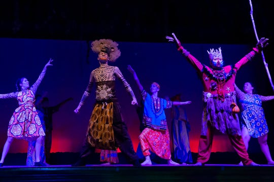 """Hanover High School students performs in a dress rehearsal of their production of the musical """"The Lion King Jr."""" on Thursday, Dec. 12, 2019."""