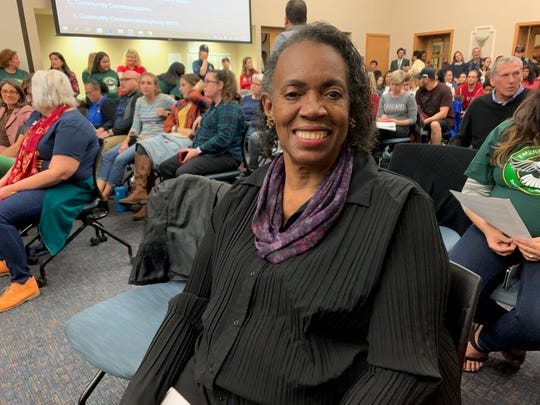 Gwendolyn Payton attended Dunbar School in the 1950s, she said. She is opposed to the plan to close it and is shown here attending the meeting on Dec. 12, 2019.